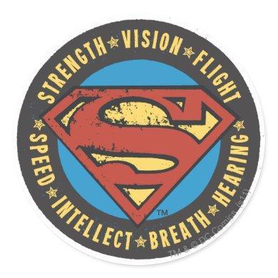Superman Stylized | Strength Vision Flight Logo Classic Round Sticker