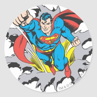 Superman Tears Thru Classic Round Sticker