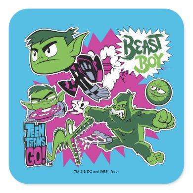Teen Titans Go! | Beast Boy Shapeshifts Square Sticker