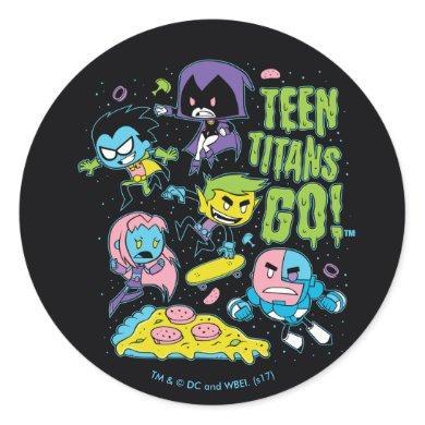 Teen Titans Go!   Gnarly 90's Pizza Graphic Classic Round Sticker