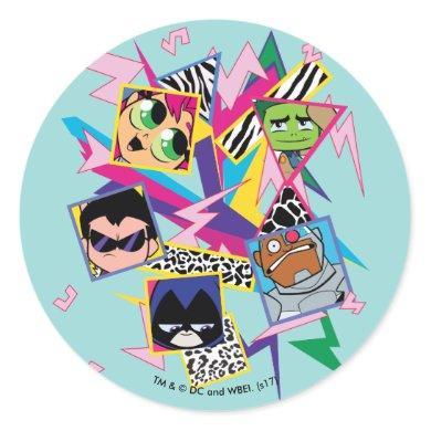 Teen Titans Go!   Retro 90's Group Collage Classic Round Sticker
