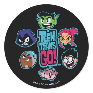 Teen Titans Go! | Titans Head Pattern Classic Round Sticker