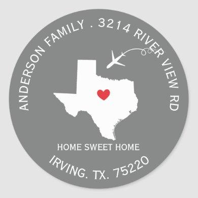 TEXAS State | New Home Address Label Sticker