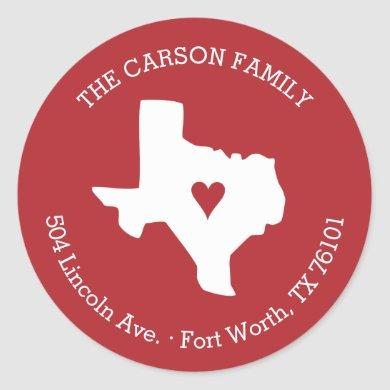 Texas State Return Address with Heart on City Classic Round Sticker