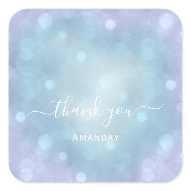 Thank Name Blue Aqua Wedding Pastel Bridal Sweet16 Square Sticker