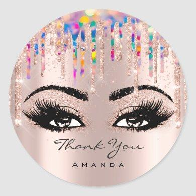 Thank  Name Confetti Rose Glitter Eyelash Unicorn Classic Round Sticker