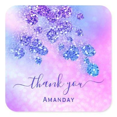 Thank Name Holograph Pink Bridal Royal Blue Cobalt Square Sticker
