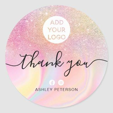 Thank you chic pink glitter marble chic media logo classic round sticker