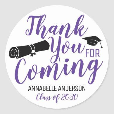 Thank You For Coming Graduation Party Favor Purple Classic Round Sticker