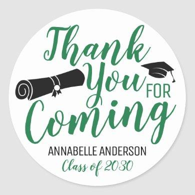 Thank You For Coming Green Graduation Party Favor Classic Round Sticker