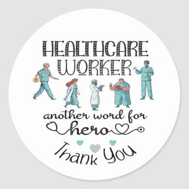 Thank You Healthcare Worker Hero Classic Round Sticker
