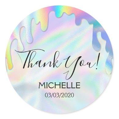 Thank You Name 16 birthday girly unicorn holograph Classic Round Sticker