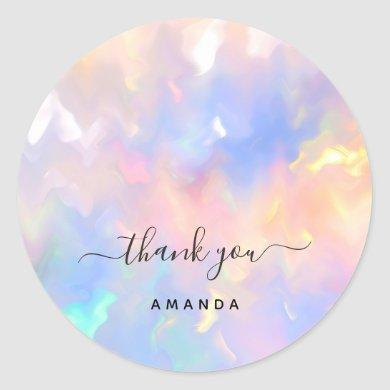 Thank You Name 16th Bridal Pink Holograph Unicorn Classic Round Sticker