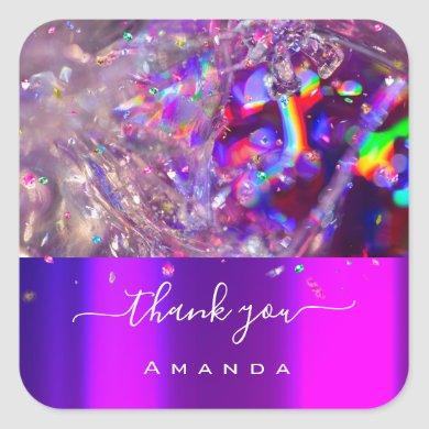Thank You Name 16th Crystals Purple Pink Rainbow Square Sticker