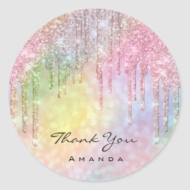 Thank You Name Sweet 16th Bridal Holographic Rose Classic Round Sticker