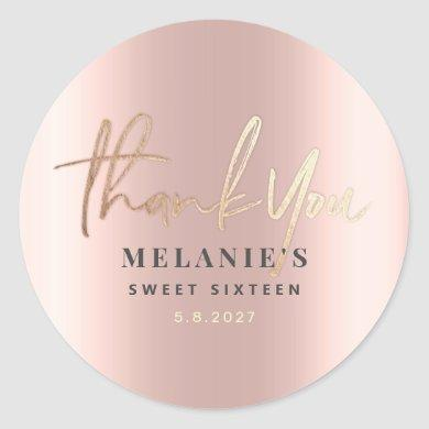 Thank You Personalized 16th Bridal Rose Gold Classic Round Sticker