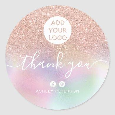 Thank you rose gold glitter holographic media logo classic round sticker