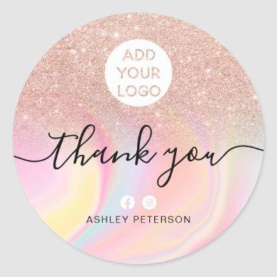 Thank you rose gold glitter marble chic media logo classic round sticker