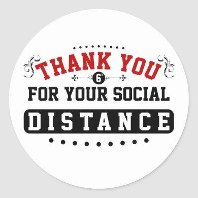 Thank You Social Distance Classic Round Sticker
