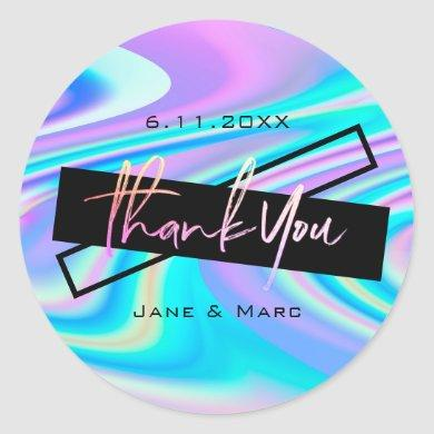 Thank You Stickers Bold Vibrant Holographic