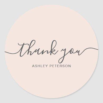 Thank you typography elegant chic blush pink classic round sticker