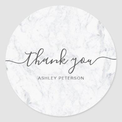 Thank you typography elegant chic white marble classic round sticker