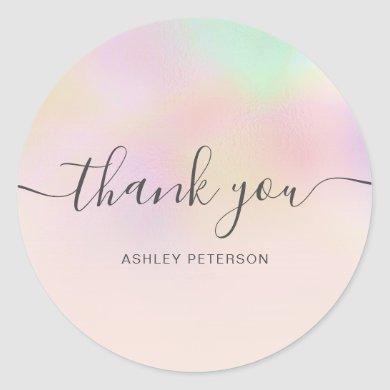 Thank you typography iridescent pearl nacre ombre classic round sticker