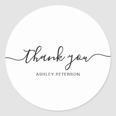Thank you typography minimalist black and white classic round sticker