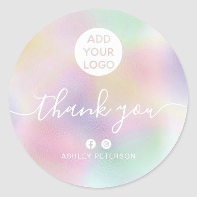Thank you typography pink holographic media logo classic round sticker