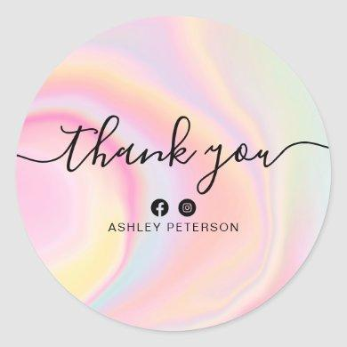 Thank you typography pink rainbow unicorn marble classic round sticker
