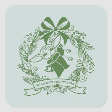 The Child | Galaxy's Greetings Wreath Square Sticker