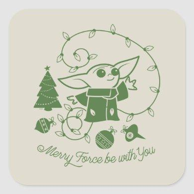 The Child | Merry Force be with You - Green Square Sticker