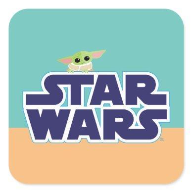 The Child Peeking Over Blue Star Wars Logo Square Sticker