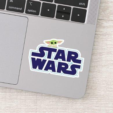 The Child Peeking Over Blue Star Wars Logo Sticker