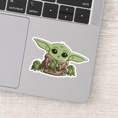 The Child Playing With Frogs Sketch Art Sticker