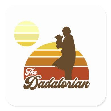 The Dadalorian & Grogu Retro Sunset Square Sticker
