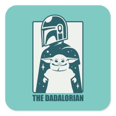 The Dadalorian & Grogu Space Silhouette Badge Square Sticker