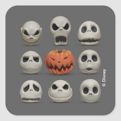 The Faces of Jack Skellington the Pumpkin King Square Sticker