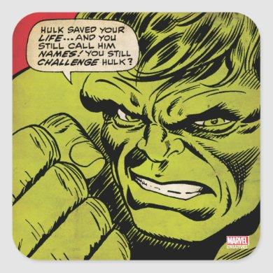 "The Hulk ""Challenge"" Comic Panel Square Sticker"