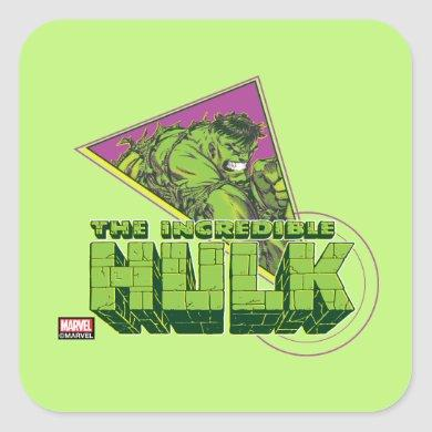 The Incredible Hulk 90's Graphic Square Sticker