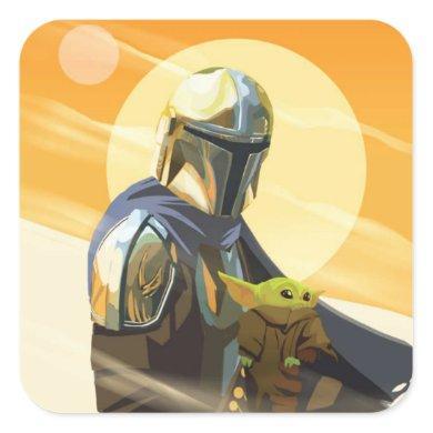 The Mandalorian and Child In Desert Illustration Square Sticker