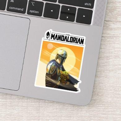 The Mandalorian and Child In Desert Illustration Sticker