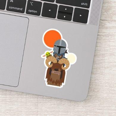 The Mandalorian and Child on Bantha Illustration Sticker