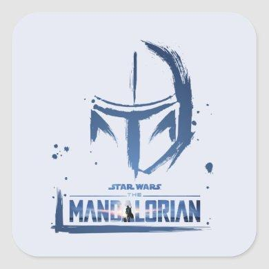 The Mandalorian Brush Stroke Helmet Logo Square Sticker