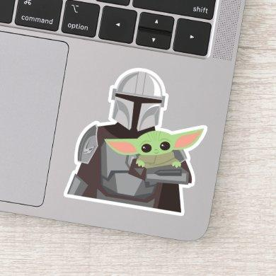 The Mandalorian Holding Child Illustration Sticker