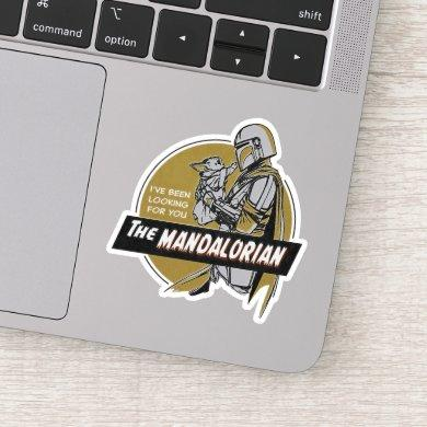 The Mandalorian Holding Child Retro Illustration Sticker