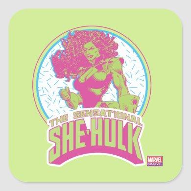 The Sensational She-Hulk 90's Graphic Square Sticker