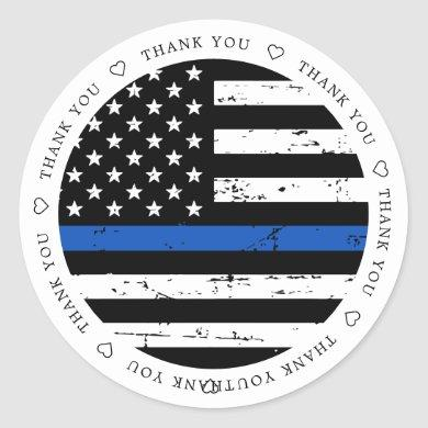 Thin Blue Line Flag Police Officer Thank You Class Classic Round Sticker