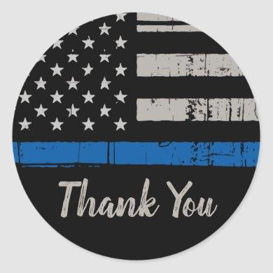 Thin Blue Line Police Law Enforcement Thank You Classic Round Sticker