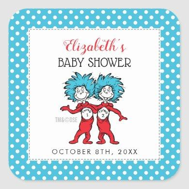 Thing 1 Thing 2 | Twins Baby Shower Square Sticker